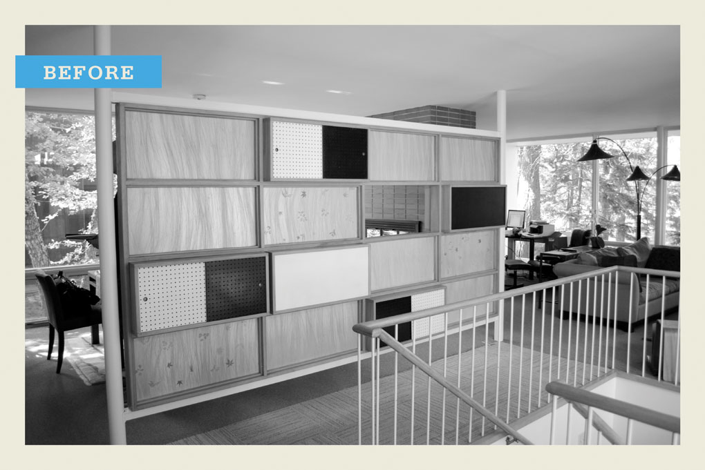 "A black-and-white ""before"" photo of an outdated wall of cabinets."