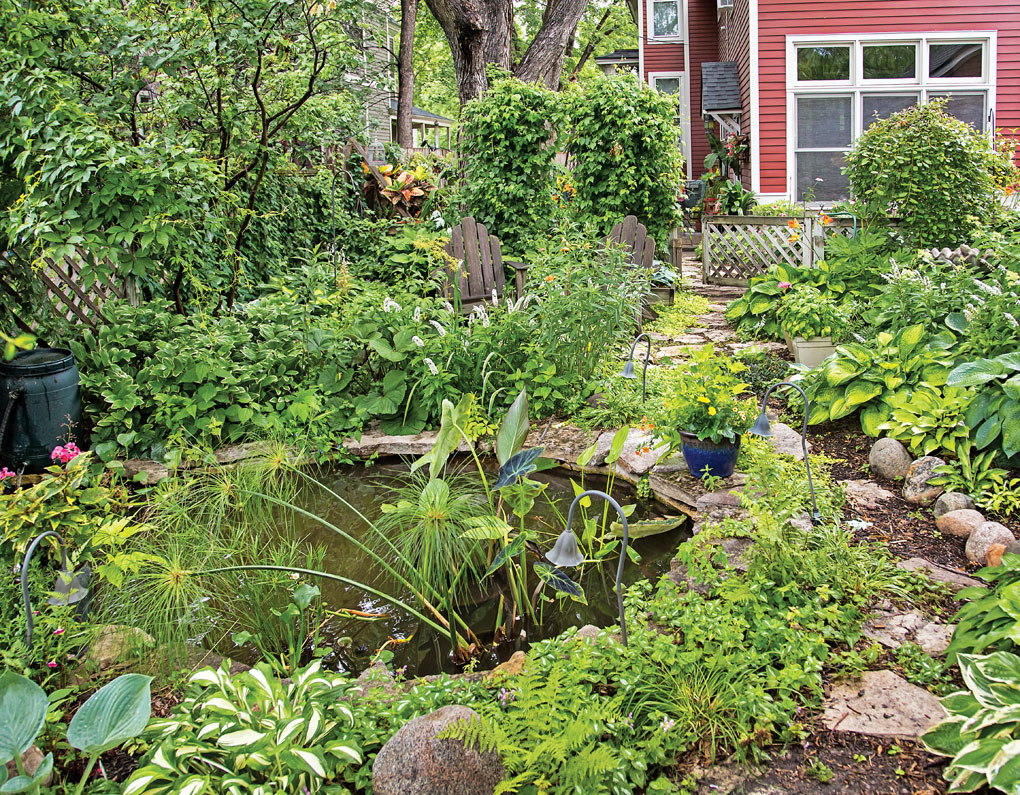 A secret koi pond in the backyard of John and Leslie Mercer's St. Paul home.