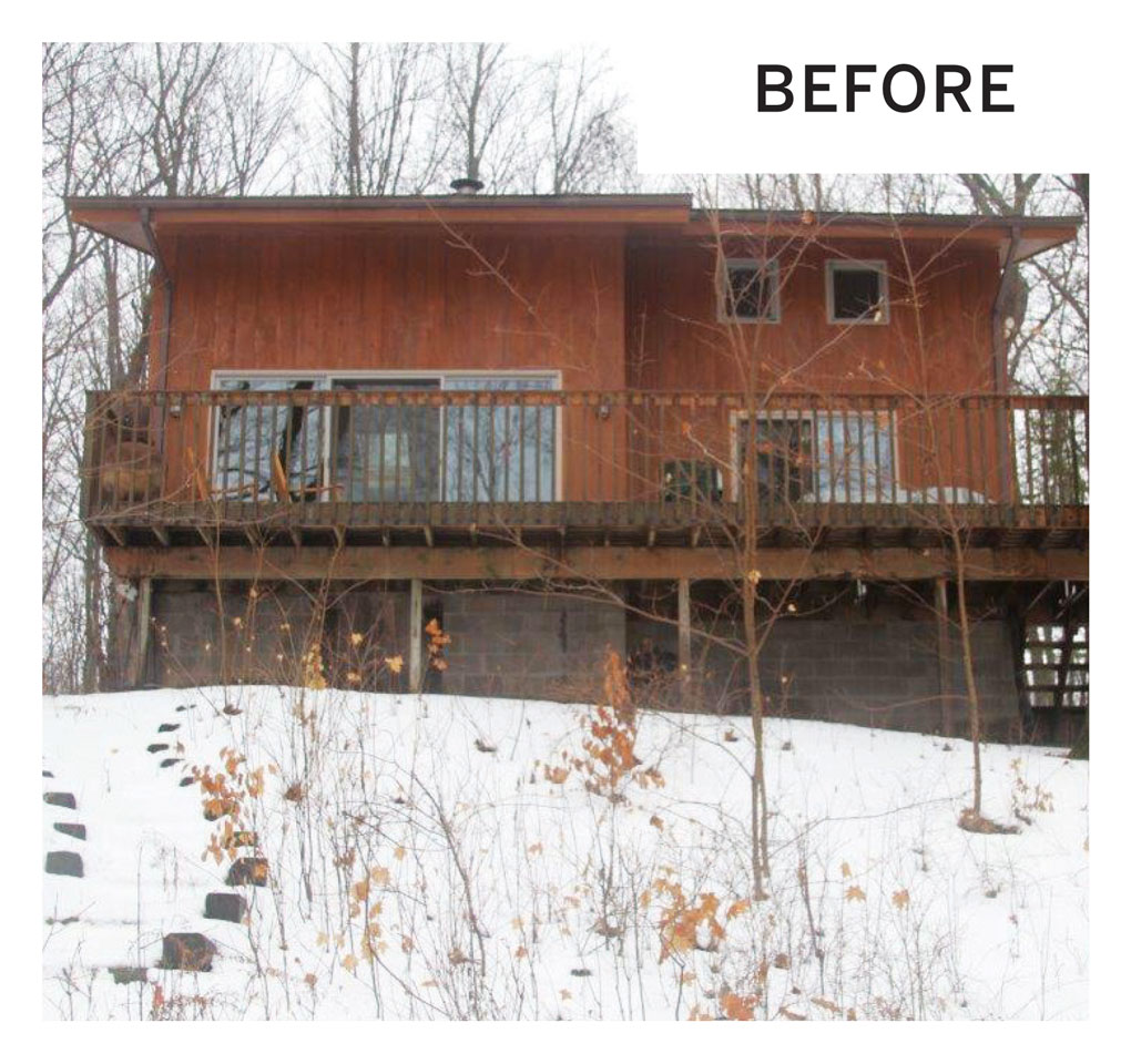 "A ""before"" photo of a remodeled cabin's exterior in Luck, Wisconsin."