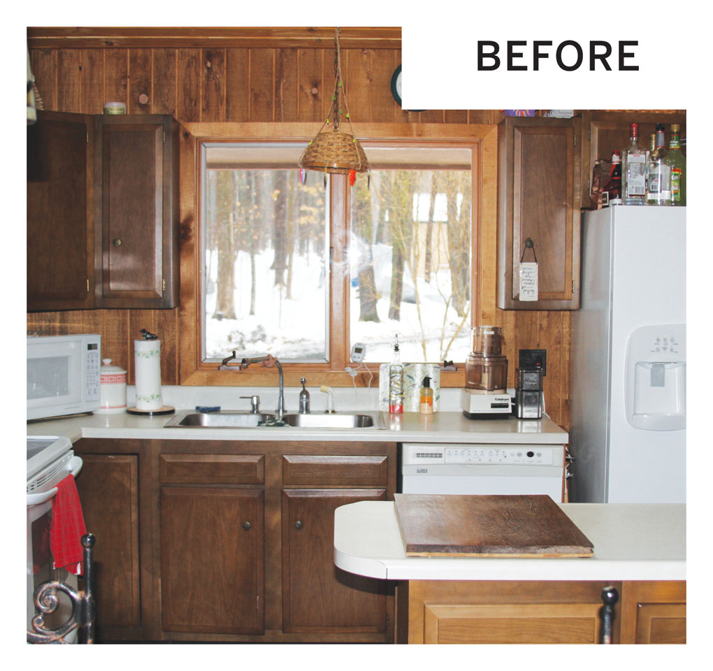 "A ""before"" photo of an outdated kitchen in a cabin in Luck, Wisconsin."