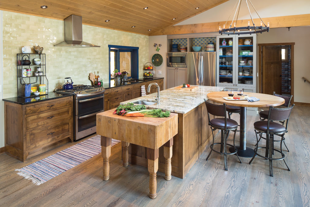 A remodeled kitchen made of repurposed and invented items in a cabin in Luck, Wisconsin.