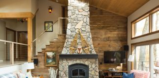 A remodeled living room by Peterssen Keller Architecture and KOR Interior Design at a cabin in Luck, Wisconsin.