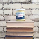 """Frostbeard Studio's """"Old Book"""" candle."""