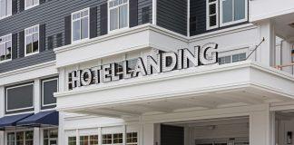 The entrance to Hotel Landing in Wayzata, Minnesota.