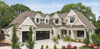 Part of a new development in Edina's Morningside neighborhood, this five-bedroom home takes full advantage of its sloped, wooded site.