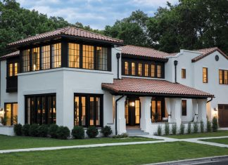The exterior of a Mediterranean-styled home on the Mississippi River in St. Paul, Minnesota.