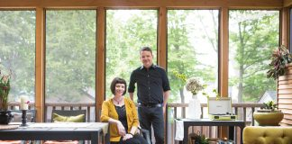 A portrait of Janey Winterbauer and Christian Erickson inside their Minneapolis home.