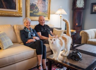 cat standing on coffee table in front of man and woman sitting on fabric couch