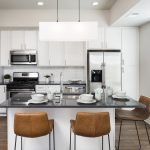 photo of a kitchen with modern appliances and leather barstools around a center island