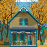 A custom home portrait by Adam Demers featuring a two-story yellow home with a front porch and trees surrounding.