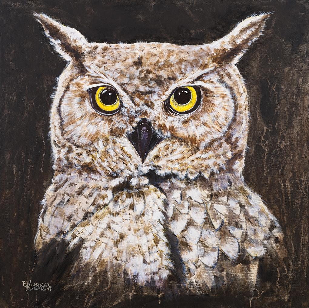 An owl portrait by Bonnie Folkerts.