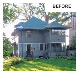 The before photo shows the backside of a gray two-story home with a porch and bird feeder in the backyard.