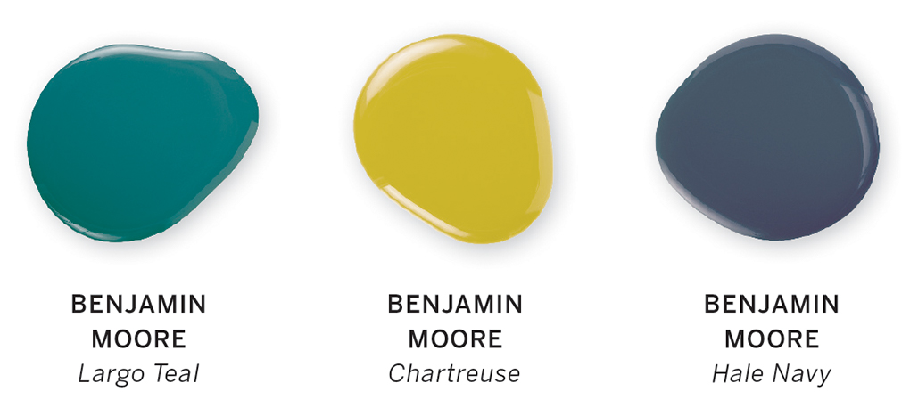 Color swatches of the three colors: Largo Teal, Chartreuse and Hale Navy.