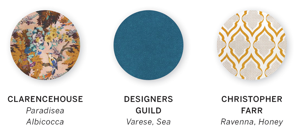 A color swatch featuring Paradisea Albicocca by Clarencehouse, Varese, Sea by Designers Guild and Ravenna, Honey by Christopher Farr.