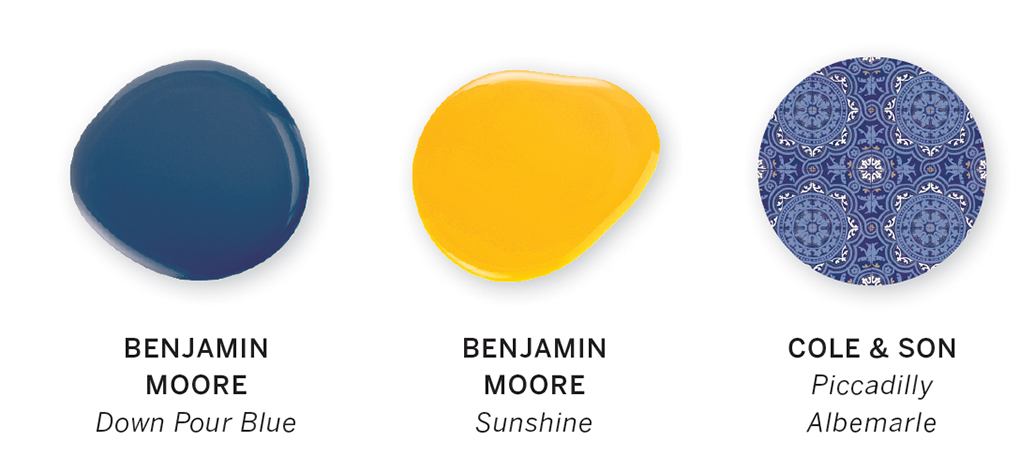 A color swatch featuring the colors of Down Pour Blue and Sunshine by Benjamin Moore, and Piccadilly Albemarle by Cole & Son.