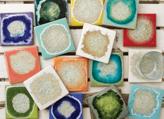 A collection of colorful coasters by Dock 6 Pottery.