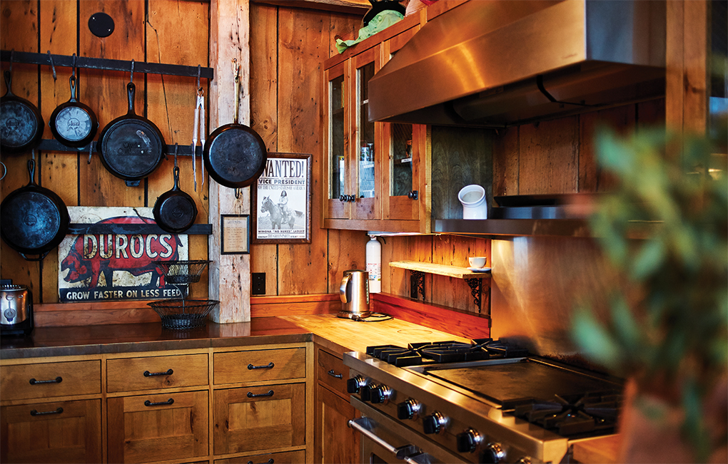 Wooden kitchen with cast iron stove