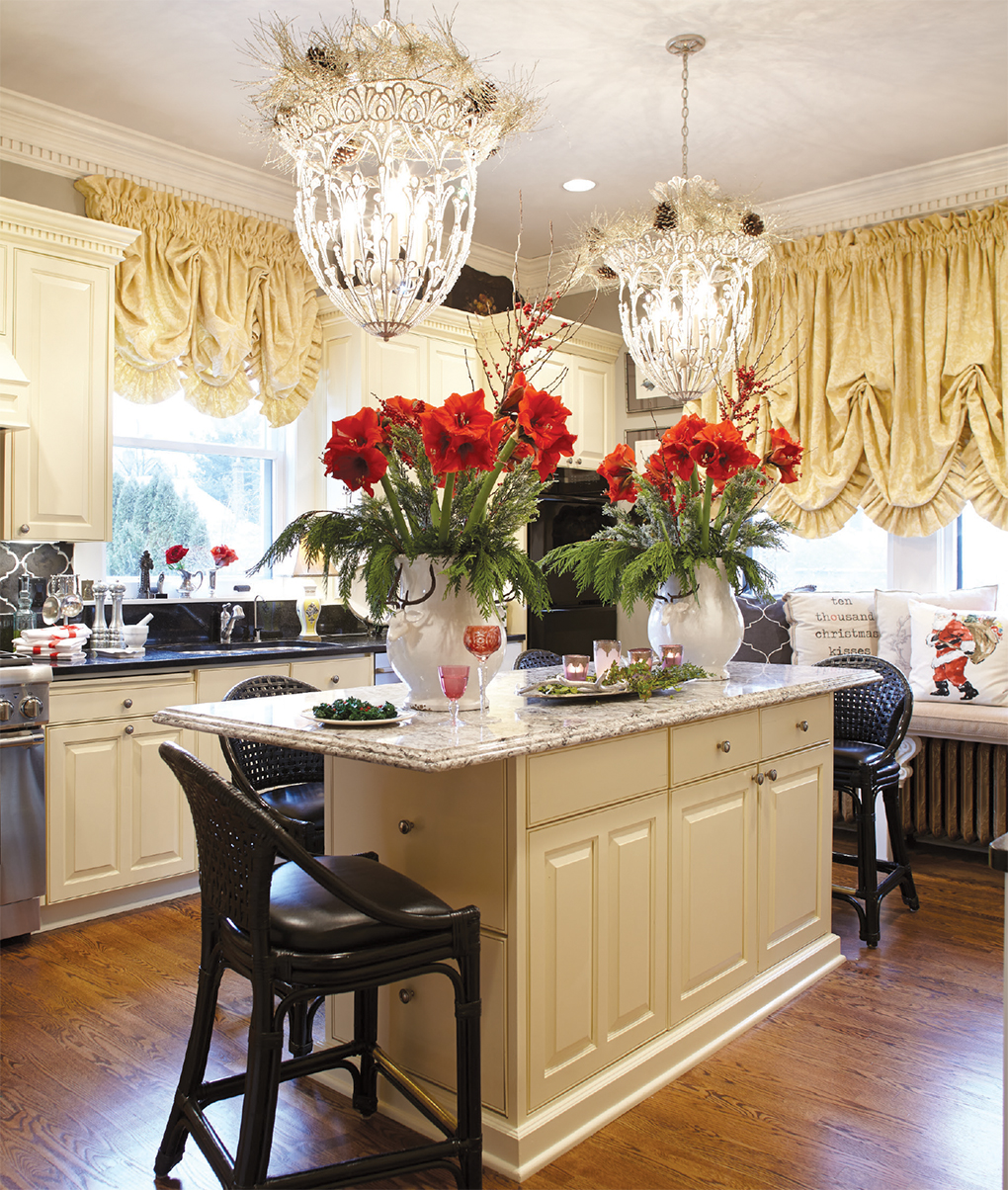 White kitchen with festive countertops