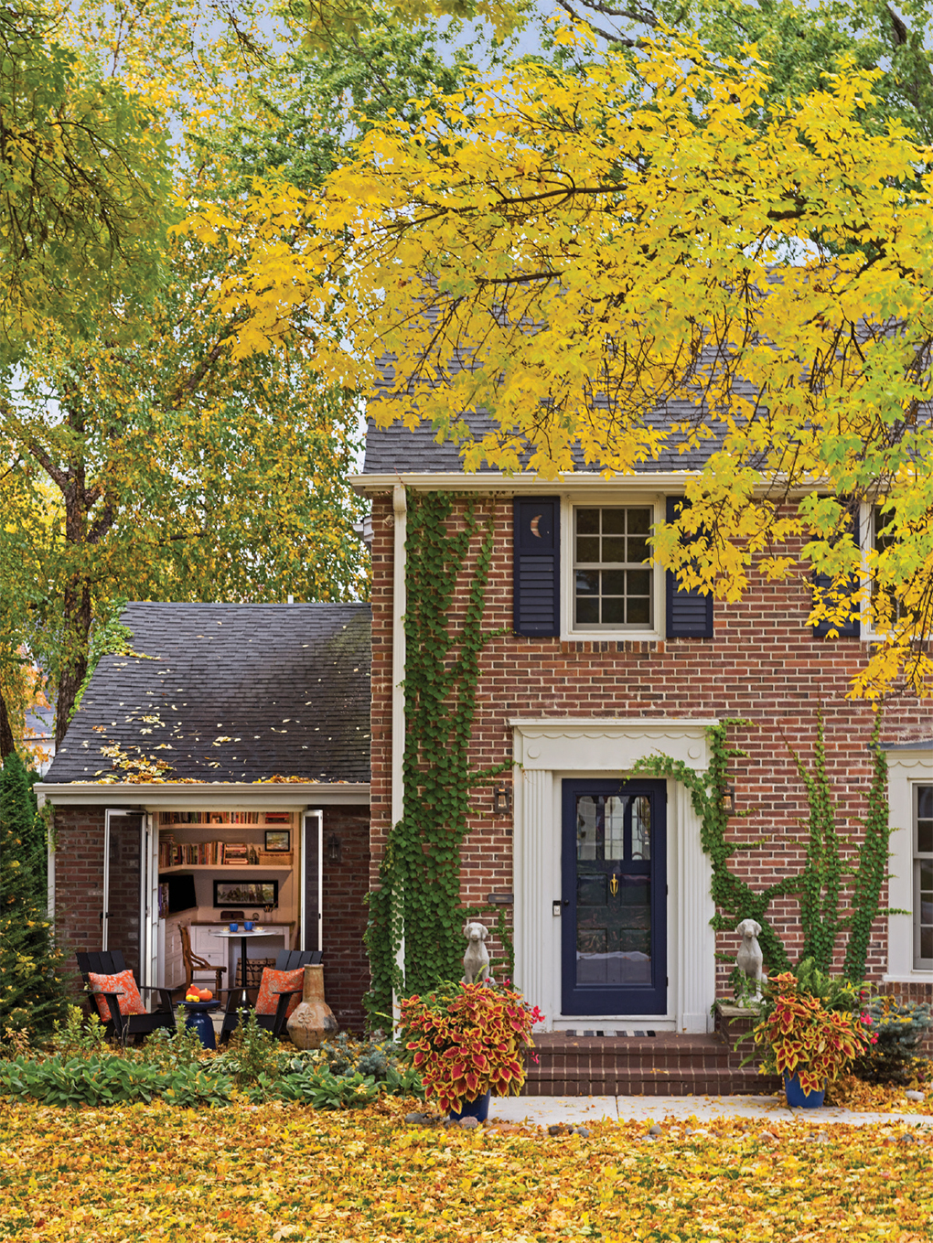 The original attached garage is now an office with a charming patio.