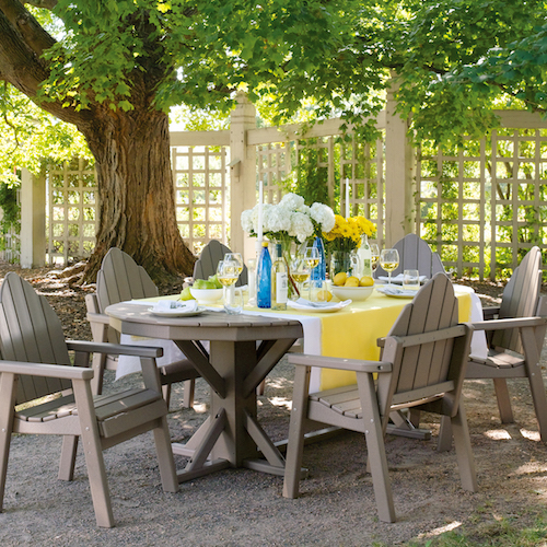 By The Yardu0027s Adirondack Dining Chairs And Oval Table In Sandtone