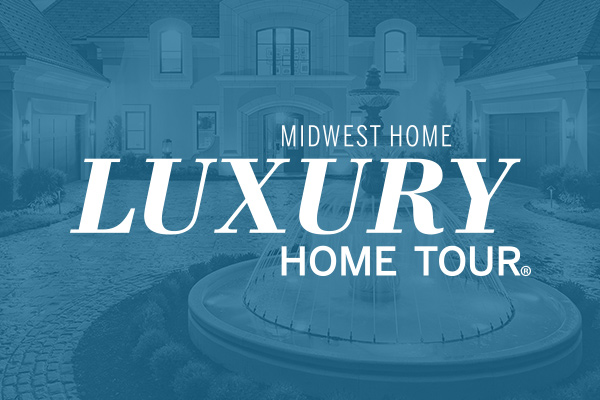 Luxury Home Tour logo on a photo of a home exterior