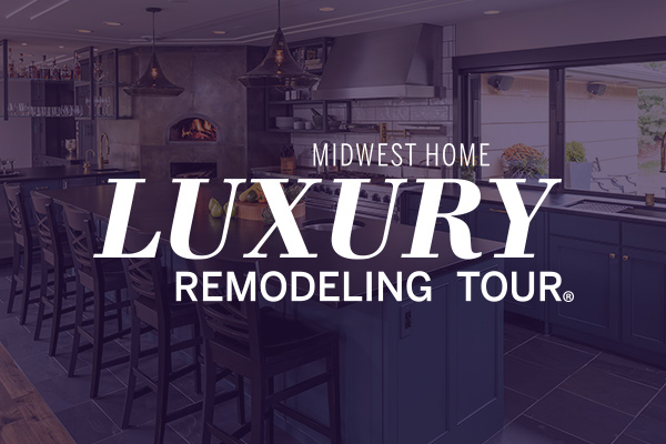 Luxury Remodeling Tour logo on a photo of a kitchen