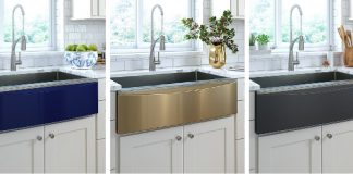 Three sinks, each with a changeable apron by Elkay (blue, black and gold).