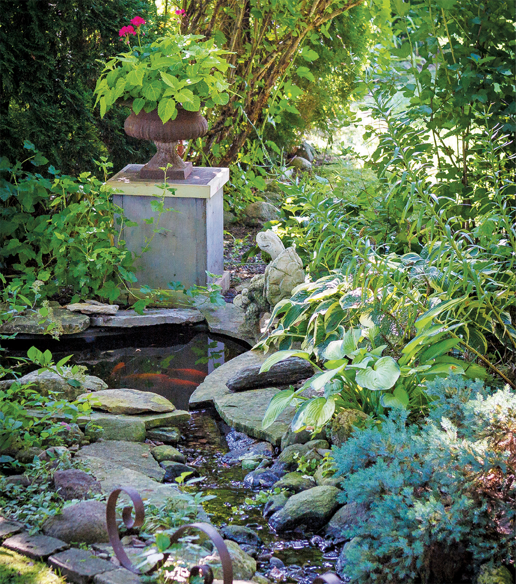 A shady pond, surrounded by hosta, is home to lilies and fish.