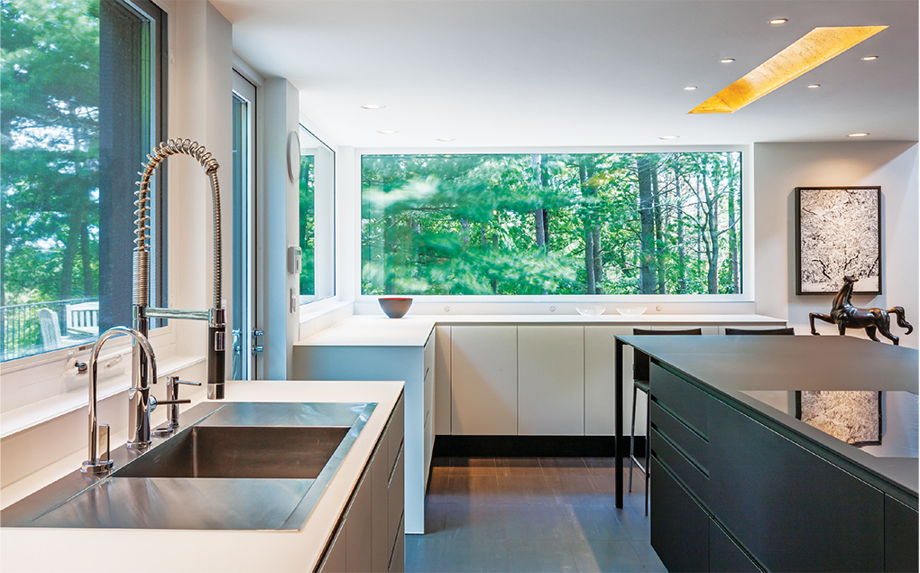 The all-glass Valcucine counters and backsplash are simple and functional.