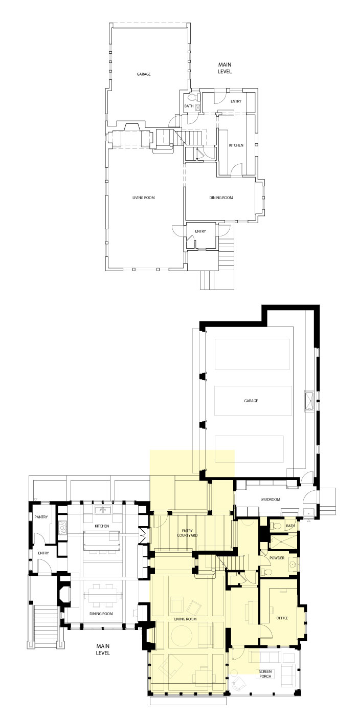 The before and after floor plans of a home remodeled by Albertsson Hansen Architecture.