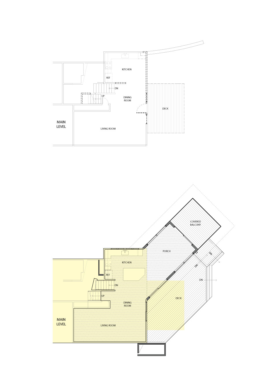 The before and after floor plans of a home remodeled by Close Associates.