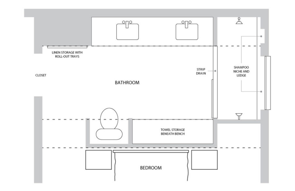 The floor plan for a remodeled bathroom by Digiacomo Homes.