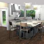 3D rendered image of a redesigned kitchen