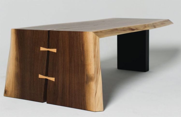 A wooden table crafted by Grant Kaihoi.