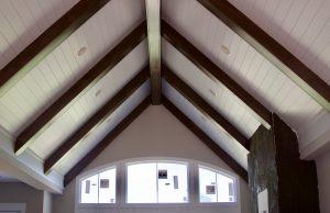 Pointed shiplap ceiling in TJB Homes' Lake Elmo residence