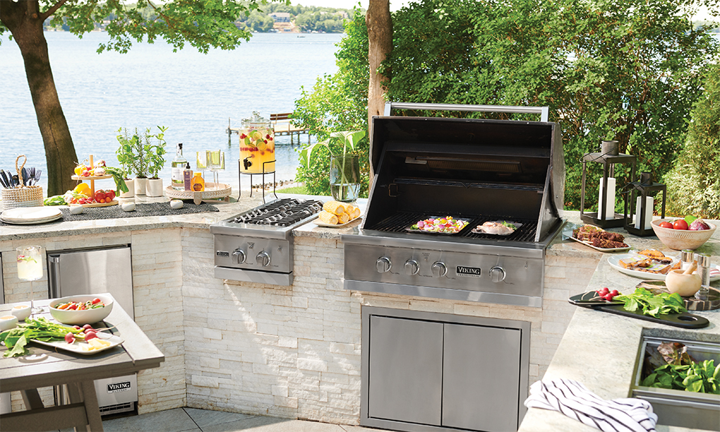 An outdoor grilling station.