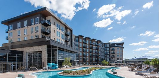 The exterior of Talo Apartments in Golden Valley, Minnesota, part of Midwest Home's Luxury Loft and Condo Tour.