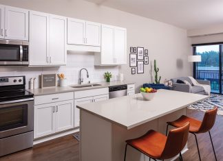 An all white kitchen inside the Loden Edina on Midwest Home's Luxury Loft and Condo Tour.