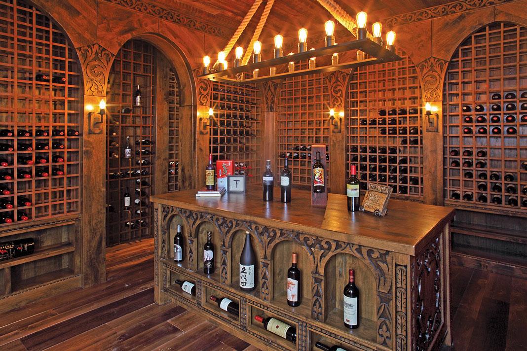 A wine cellar made entirely of wood by Erik Wyckoff.