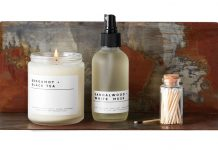 Acid washed shelf, $26, True Hue Bergamot + Black Tea candle, $18, True Hue Sandalwood + White Husk spray, $14, True Hue matches, $8, Ciel Loft & Home