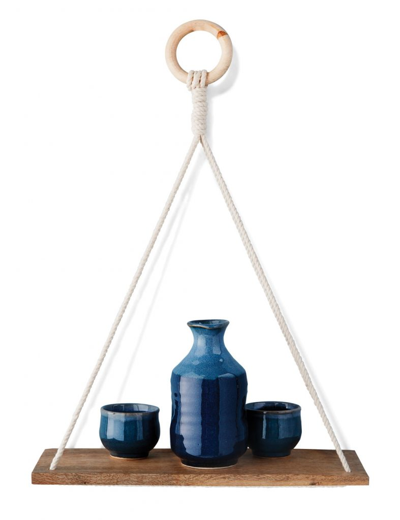 Elie Brown shelf, $16, Urban Outfitters; Sake set, $50, Khazana