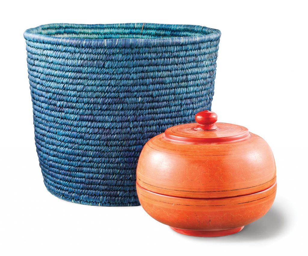 Hand woven indigo basket, $95, Burmese container, $350, Khazana