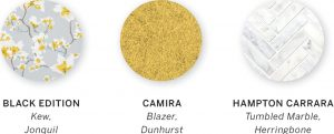 A paint swatch with three colors, including Kew, Jonquil by Black Edition, Blazer, Dunhurst by Camira, and Tumbled Marble, Herringbone by Hampton Carrara.