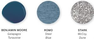 Three paint color swatches of the colors Galapagos Turquoise by Benjamin Moore, Steel Blue by Romo, and McCoy, Dune by Stark.