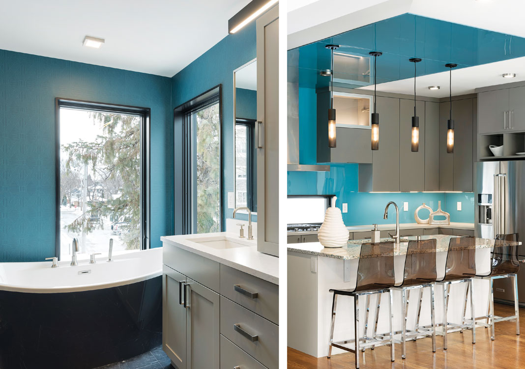 Side-by-side photos of a kitchen and bathroom with turquoise walls and white cabinetry.
