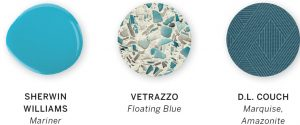 A paint swatch with three colors, including Mariner by Sherwin Williams, Floating Blue by Vetrazzo, and Marquise, Amazonite by D.L. Couch.