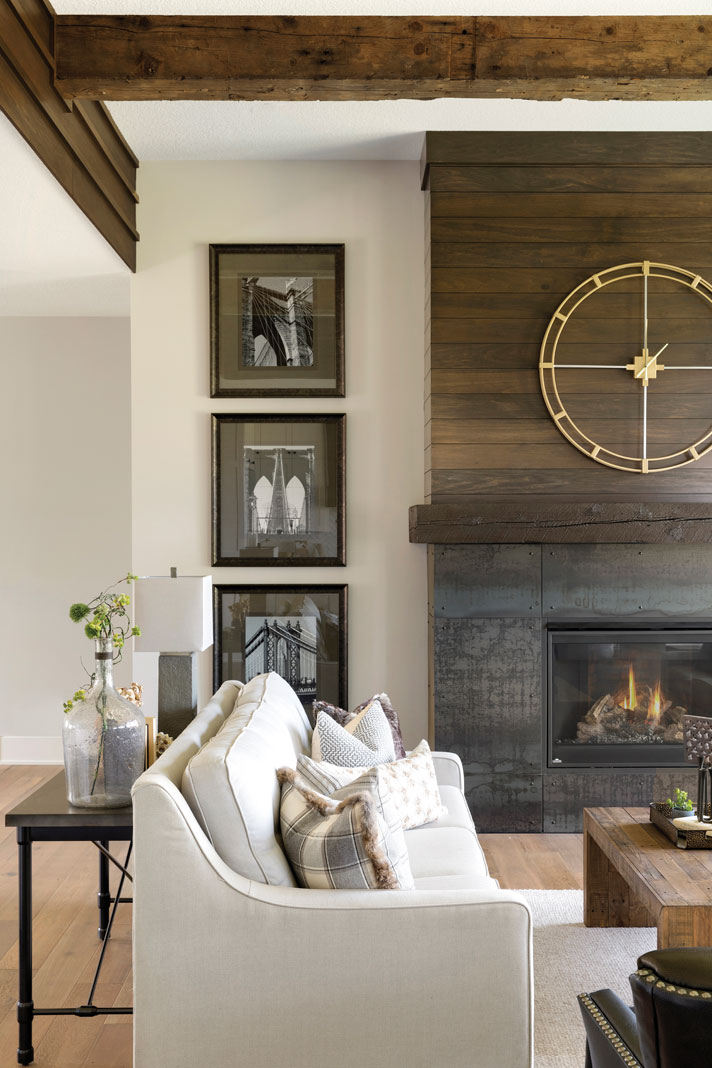 Clean lines, natural wood, and neutral fabrics reflect a relaxed-yet-sophisticated style in this new home by Custom One Homes. Part of Midwest Home's Luxury Home Tour.