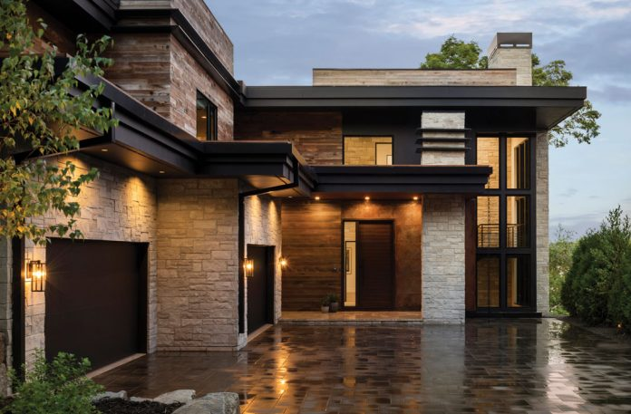 The exterior of a contemporary home. Part of Midwest Home's 2018 Luxury Home Tour.