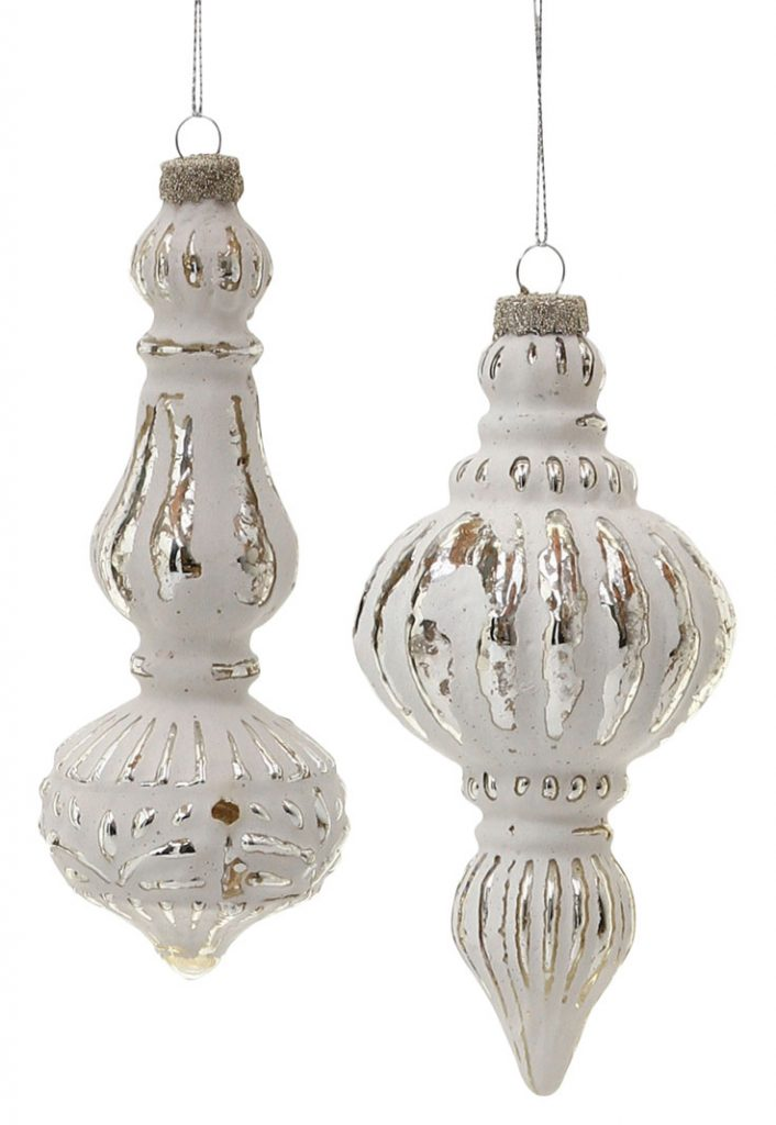 Decorative hanging white ornaments.