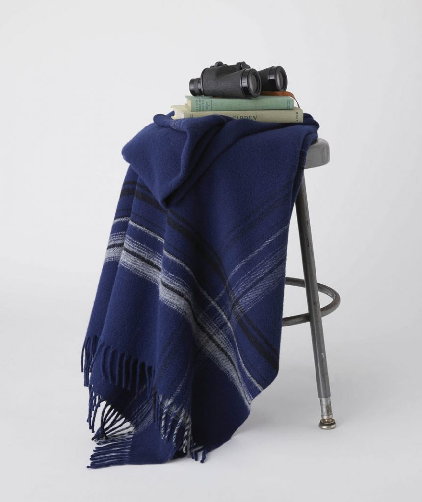 The cozy new border plaid wool throw at Faribault Woolen Mill.